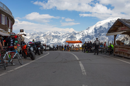 STELVIO PASS, ITALY, JUNE 20, 2019 - It is the highest automobile pass in Italy, 2758 metres and the second highest in Europe, located between Trentino-Alto Adige and Lombardy, Italy.