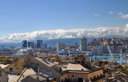 GENOA, ITALY, MARCH 22, 2019 - Genoa landscape from the old city to the Editorial