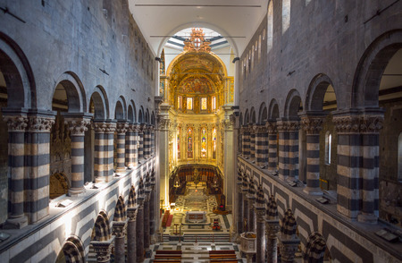The top view of the inner of Saint Lawrence (San Lorenzo) cathedral of Genoa, Italy.