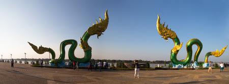 NONG KHAI, THAILAND, JANUARY 29, 2019 - Naga Statue in Nong Khai on Mekong River, Thailand.