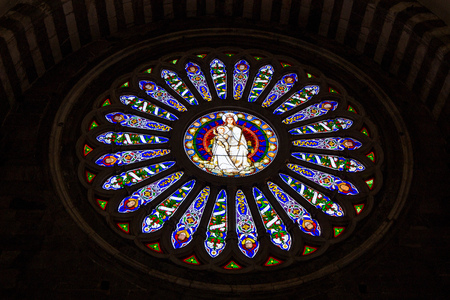 The inner rose window of Saint Lawrence (San Lorenzo) cathedral of Genoa, Italy. Editorial