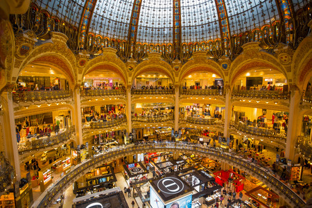 PARIS, FRANCE, SEPTEMBER 6, 2018 -  Galeries Lafayette interior in Paris, France Editorial