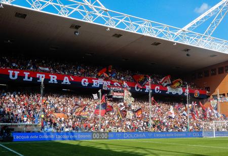 GENOA, ITALY, OCTOBER, 7. 2018 - Crowdy stands during a football match of Genoa Cricket and Football club 1893, in Luigi Ferraris Stadium of Genoa, (Genova) Italy.
