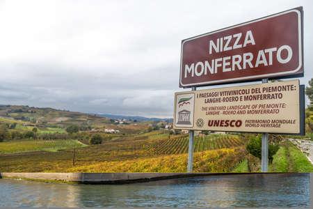 NIZZA MONFERRATO, ITALY, NOVEMBER 1, 2018 - Hills of vineyards in autumn in Nizza Monferrato, Asti province, Piedmont, Italy.