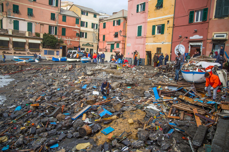 GENOA, ITALY, OCTOBER 10, 2018 - View of Genoa Boccadasse beach devasted after the storm of the night before Standard-Bild - 133577658