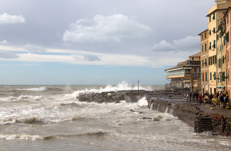 GENOA, ITALY, OCTOBER 10, 2018 - View of Genoa Boccadasse with rough sea during an autumnal day. Standard-Bild - 133577663