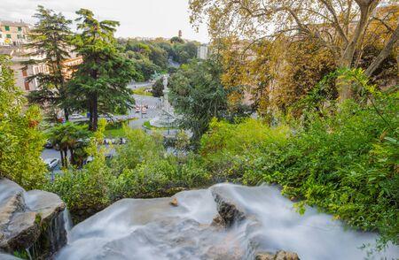 Waterfall in Villetta Di Negro Park in the city of Genoa, Italy Standard-Bild - 134071358