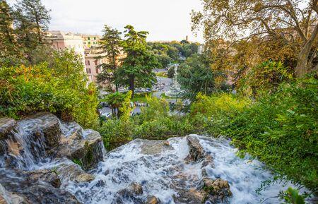 Waterfall in Villetta Di Negro Park in the city of Genoa, Italy Standard-Bild
