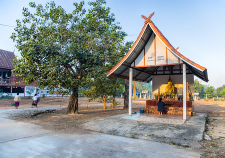 SAKON NAKHON, THAILAND, JANUARY, 20, 2019 - Temple in the Akat Amnuai district, Sakon Nakhon province, Isan, Thailand Editorial