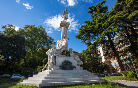 GENOA, ITALY, APRIL 29, 2019 - Giuseppe Mazzini monument near Corvetto Square in Genoa, Italy Standard-Bild - 134189507