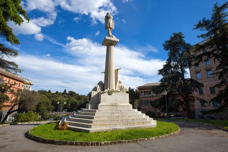 GENOA, ITALY, APRIL 29, 2019 - Giuseppe Mazzini monument near Corvetto Square in Genoa, Italy Standard-Bild - 134189511