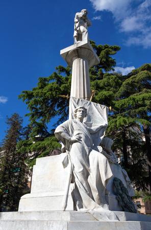GENOA, ITALY, APRIL 29, 2019 - Giuseppe Mazzini monument near Corvetto Square in Genoa, Italy