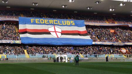 GENOA, ITALY, JANUARY 26, 2020 - U.C. Sampdoria fans before a football match, in Luigi Ferraris Stadium of Genoa, (Genova) Italy.