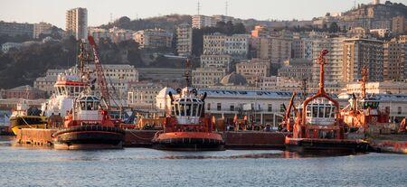 GENOA, ITALY, JANUARY 23, 2020 - Tugboats moored in the port of Genoa, Italy Editorial