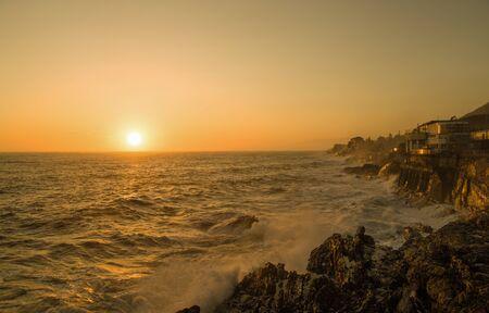 View of Genoa (Genova) Nervi, Italy, cliffs and walk at sunset Standard-Bild - 141962100