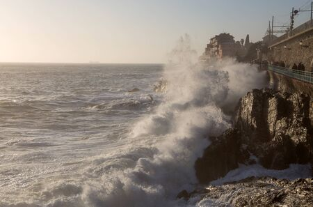 GENOA, ITALY, FEBRUARY 11, 2020 - Rough sea in Genoa Nervi,  ligurian coast, Italy Standard-Bild - 141208174