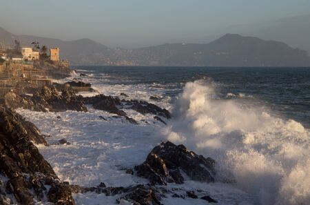 Rough sea in Genoa Nervi,  ligurian coast, Italy Standard-Bild - 141208165