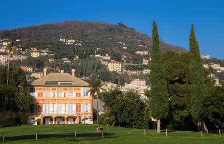 GENOA, ITALY, FEBRUARY 11, 2020 - Villa Grimaldi Fassio in Genoa Nervi, inside Genoa Nervi Groppallo Park, Italy.