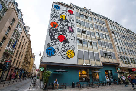 PARIS, FRANCE, SEPTEMBER 6, 2018 - Starbucks coffee near Pompidou Center in Paris, France Editorial