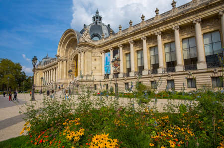 PARIS, FRANCE, SEPTEMBER 5, 2018 - Petit Palais (Small Palace) from the gardens with the fountain in Paris, France Editorial