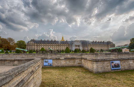 PARIS, FRANCE, SEPTEMBER 5, 2018 - Invalides National Hotel is a great complex of buildings with Army Museum and Napoleon Tomb in Paris, France. Editorial