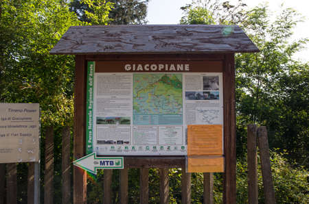 GENOA, ITALY, JULY 29, 2020 - Signpost with the map of Giacopiane lake, an artificial reservoir located in the Sturla valley in the municipality of Borzonasca, inland of Chiavari, Genoa province, Italy Editorial