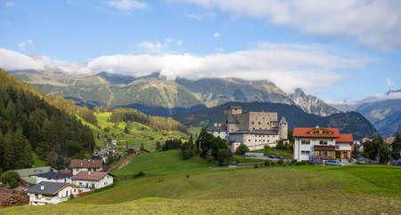 Nauders landscape with Naudersberg Castle, Landeck district, Tyrol, Austria. Editorial