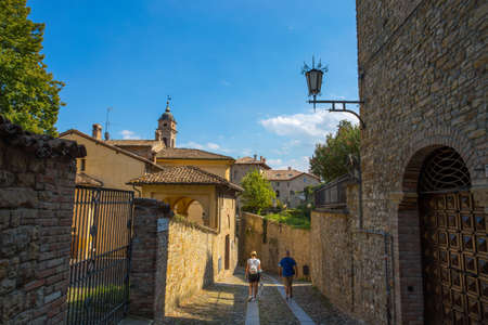 CASTELL 'ARQUATO, ITALY, AUGUST, 25, 2020 - View of the medieval town of Castell'Arquato, Piacenza province, Emilia Romagna, Italy.