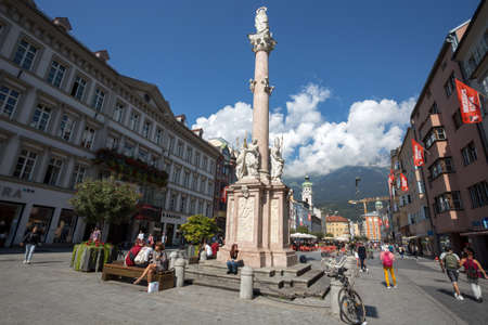 INNSBRUCK, AUSTRIA, SEPTEMBER 12, 2020 - View of Town Square in center of Innsbruck, Tyrol, Austria Editorial
