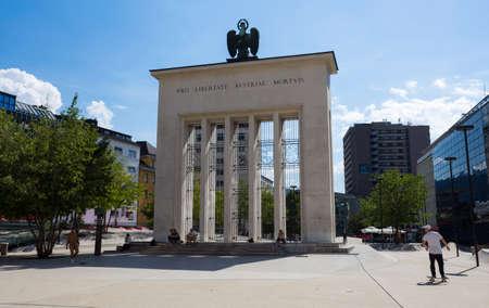INNSBRUCK, AUSTRIA, SEPTEMBER 12, 2020 - View of Landhausplatz and the Monument for the fallen for freedom of Austria in Innsbruck, Tyrol, Austria. Editorial