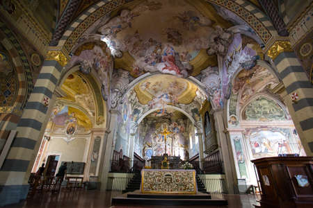 BOBBIO, ITALY, AUGUST 20, 2020 - The inner of the cathedral of Bobbio, Santa Maria Assunta, is a parish church of Bobbio in the province of Piacenza, Italy.