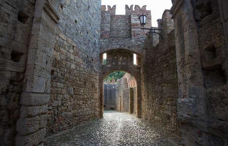 VIGOLENO, ITALY, AUGUST 25, 2020 - View of Vigoleno Castle, Piacenza province, Italy.