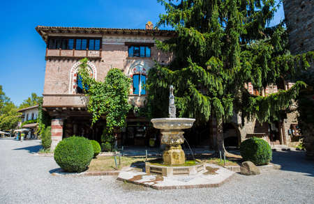 GRAZZANO VISCONTI, ITALY, AUGUST 25, 2020 - View of the picturesque village of Grazzano Visconti, Piacenza province, Emilia Romagna, Italy. Editorial
