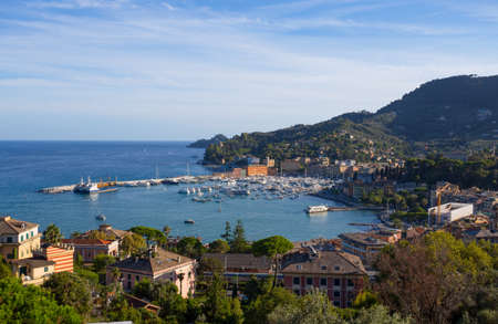 Aerial view of Santa Margherita Ligure, Ligurian riviera, Genoa province, Italy.