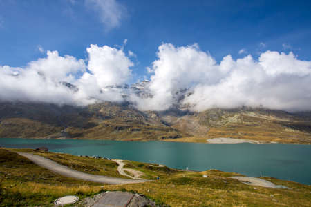 Landscape at Bernina Pass with the White Lake between Italy and Switzerland in summertime.