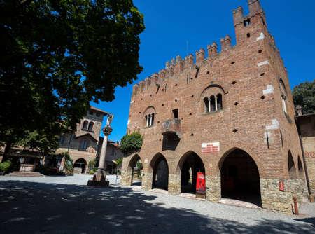 GRAZZANO VISCONTI, ITALY, AUGUST 25, 2020 - View of the picturesque village of Grazzano Visconti, Piacenza province, Emilia Romagna, Italy Editorial