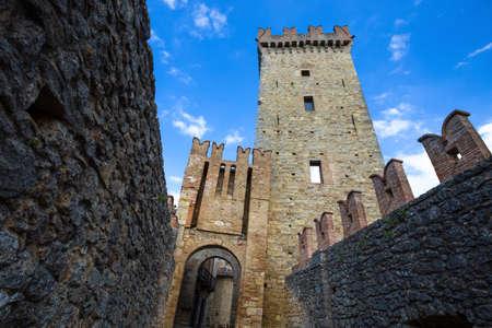 VIGOLENO (PIACENZA), ITALY, AUGUST 25, 2020 - View of Vigoleno Castle, Piacenza province, Italy.