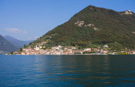 View of Monte Isola, Iseo Lake, Brescia province, Lombardy, Italy.