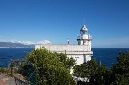 PORTOFINO, ITALY, SEPTEMBER 1, 2020 - The white lighthouse of Portofino, Ligurian coast, Genoa province, Italy. Editorial