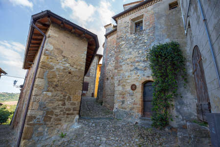 VIGOLENO, ITALY, AUGUST25, 2020 - View of the streets of the medieval village of Vigoleno, Piacenza province, Emilia Romagna, Italy