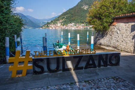 SULZANO, ITALY, SEPTEMBER 9, 2020 - View of Monte Isola from the town of Sulzano, Iseo lake, Brescia province, Italy.
