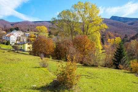 Autumnal landscape in the Aveto Regional Natural Park, Genoa province, Liguria, Italy. Standard-Bild
