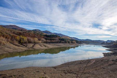 View of Giacopiane Lake in autumn, Genoa province, Liguria, Italy Standard-Bild
