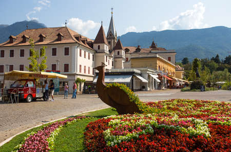 MERANO, ITALY, SEPTEMBER 13, 2020 - View of the mountain town of Merano, South Tyrol, Italy