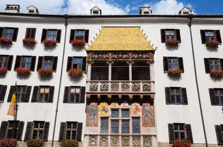INNSBRUCK, AUSTRIA, SEPTEMBER 9, 2020 - View of the Antique building Golden Roof Innsbruck, Tyrol, Austria