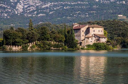 Toblino Castle on the Toblino lake, in the municipality of Madruzzo, Trento Province, Italy.