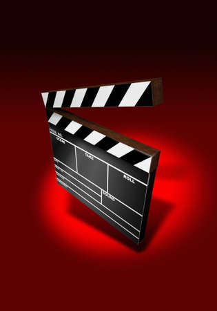 Clapper Board on red background (3D image) photo
