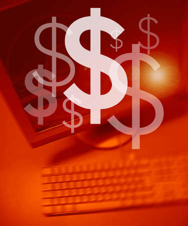 Dollar symbol on Personal Computer background Stock Photo