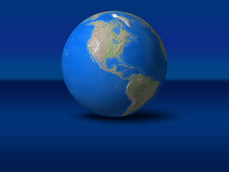 World Globe on blue graphic backgroundNorth America view Stock Photo
