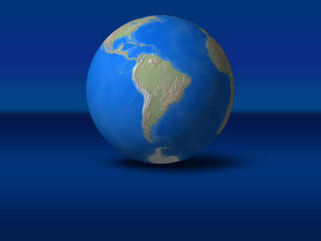 World Globe on blue graphic backgroundSouth America view